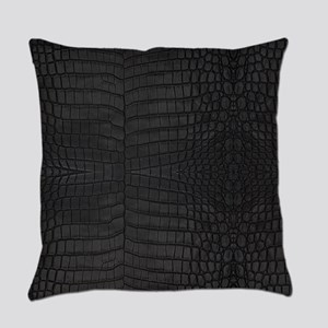 Black Crocodile Leather Pattern Everyday Pillow