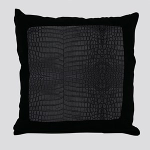 Black Crocodile Leather Pattern Throw Pillow