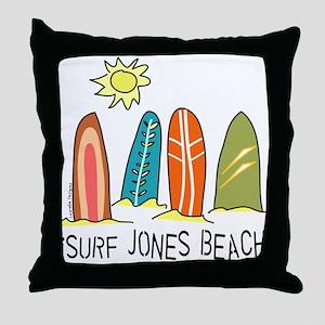 iSurf Jones Beach Throw Pillow
