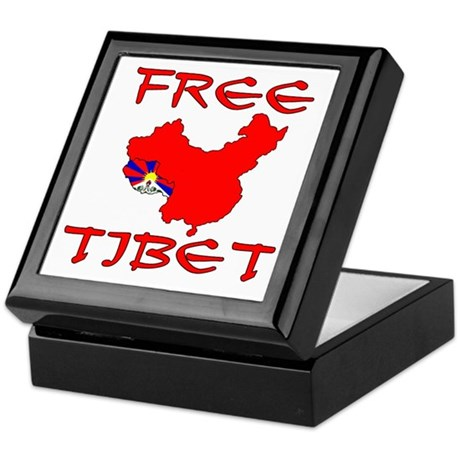 Free Tibet with Map Keepsake Box
