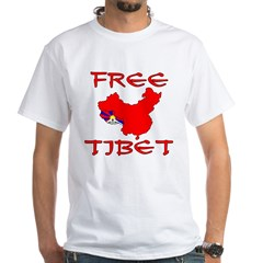 Free Tibet with Map White T-Shirt
