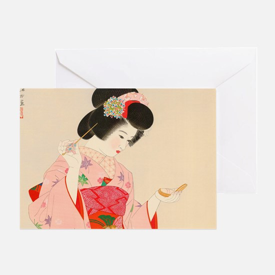 Cute Japanese geisha Greeting Card