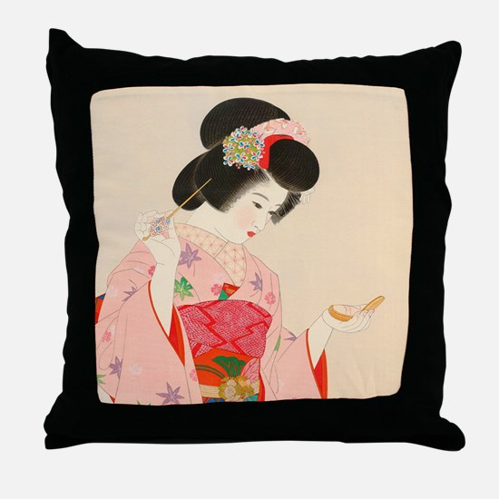 Cute Japanese girl Throw Pillow