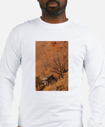 Remote Mountain Cabin in Autum Long Sleeve T-Shirt
