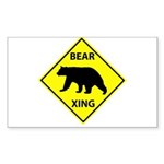 Bear Crossing Sticker (Rectangle 10 pk)
