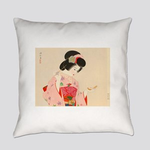 Vintage Japanese Geisha Lady Woman Everyday Pillow