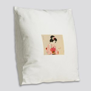 Vintage Japanese Geisha Lady W Burlap Throw Pillow