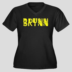 Brynn Faded (Gold) Women's Plus Size V-Neck Dark T