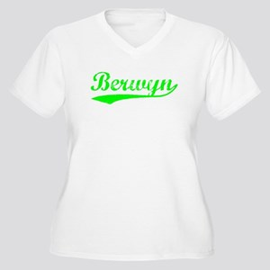 Vintage Berwyn (Green) Women's Plus Size V-Neck T-