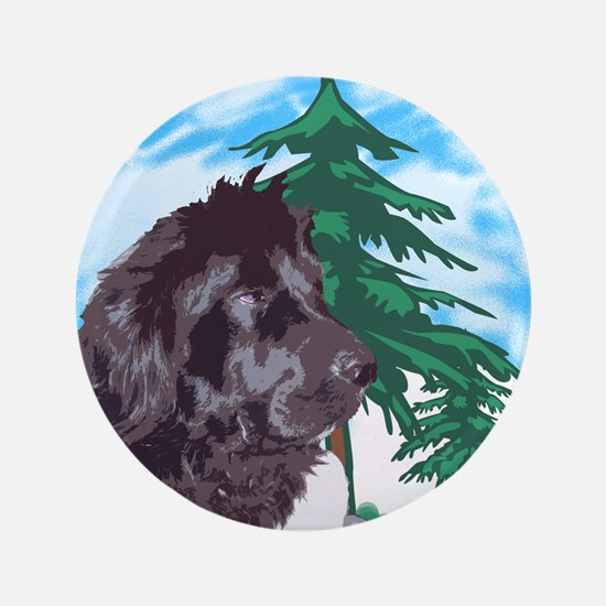 """Newf with trees 3.5"""" Button"""