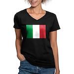 Italian Flag Women's V-Neck Dark T-Shirt