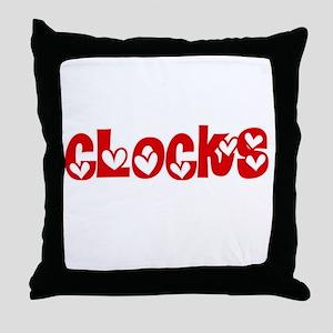 Clocks Heart Design Throw Pillow