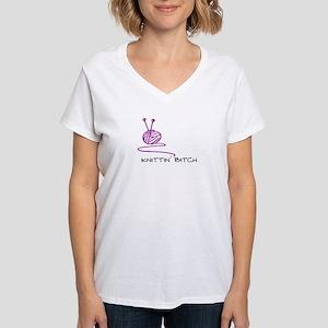 Knittin' Bitch Women's V-Neck T-Shirt