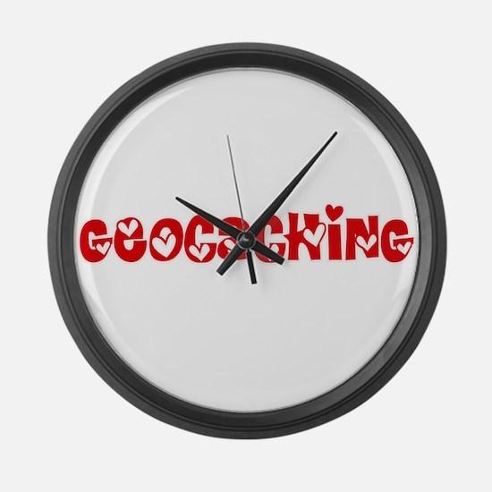 Geocaching Heart Design Large Wall Clock