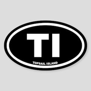 TI Topsail Island Black Euro Oval Sticker
