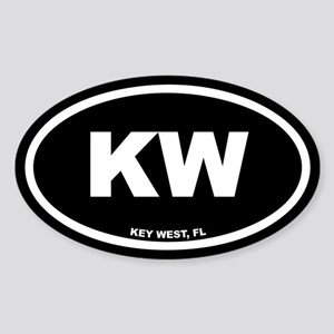 KW Key West, FL Black Euro Oval Sticker