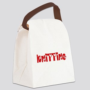 Knitting Heart Design Canvas Lunch Bag