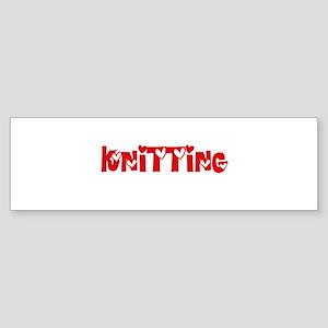 Knitting Heart Design Bumper Sticker