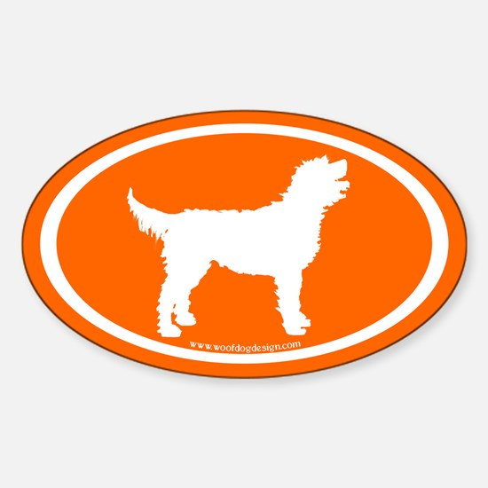 Labradoodle Oval (white/orange) Oval Decal