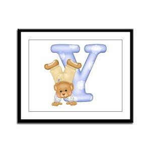 Teddy Alphabet Y Blue Framed Panel Print