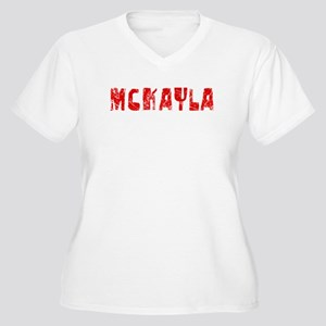 Mckayla Faded (Red) Women's Plus Size V-Neck T-Shi