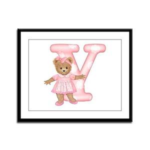 Teddy Alphabet Y Pink Framed Panel Print