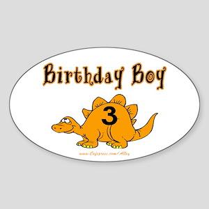 Birthday Boy 3 Dinosaur Oval Sticker