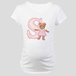 Teddy Alphabet S Pink Maternity T-Shirt
