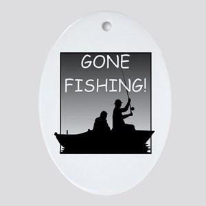 Gone Fishing! Design Oval Ornament