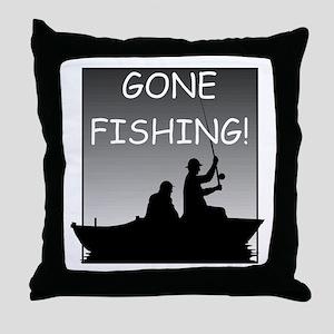 Gone Fishing! Design Throw Pillow