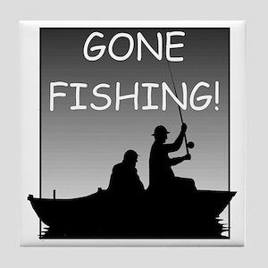 Gone Fishing! Design Tile Coaster