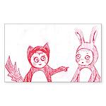 Fox and Bunny Rectangle Sticker 10 pk)