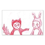 Fox and Bunny Rectangle Sticker 10 pk)