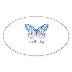Earth Day - Butterfly Oval Sticker (10 pk)