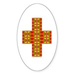 Megalithic Cross Oval Sticker (10 pk)