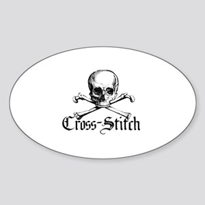 Cross-Stitch - Skull & Crossb Oval Sticker