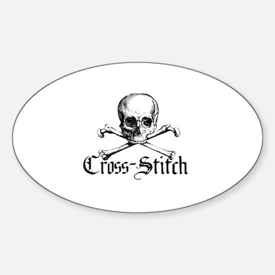 Cross-Stitch - Skull & Crossb Oval Decal