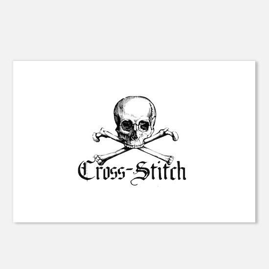 Cross-Stitch - Skull & Crossb Postcards (Package o