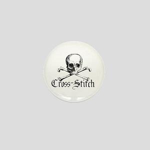 Cross-Stitch - Skull & Crossb Mini Button