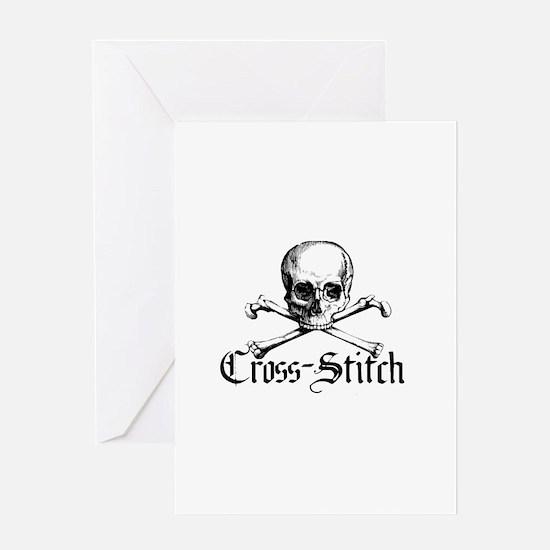 Cross-Stitch - Skull & Crossb Greeting Card