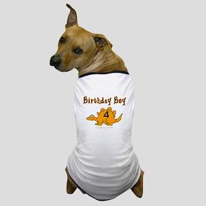 Birthday Boy 4 Dinosaur Dog T-Shirt