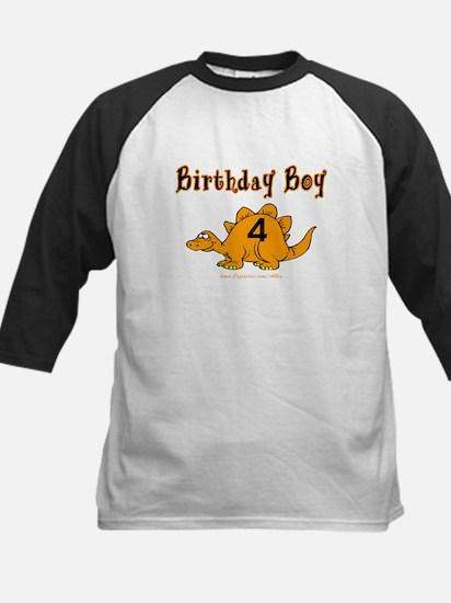 Birthday Boy 4 Dinosaur Kids Baseball Jersey