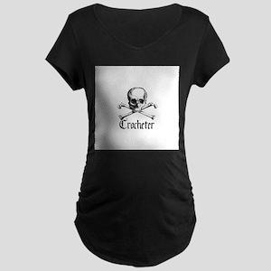 Crocheter - Skull & Crossbone Maternity Dark T-Shi