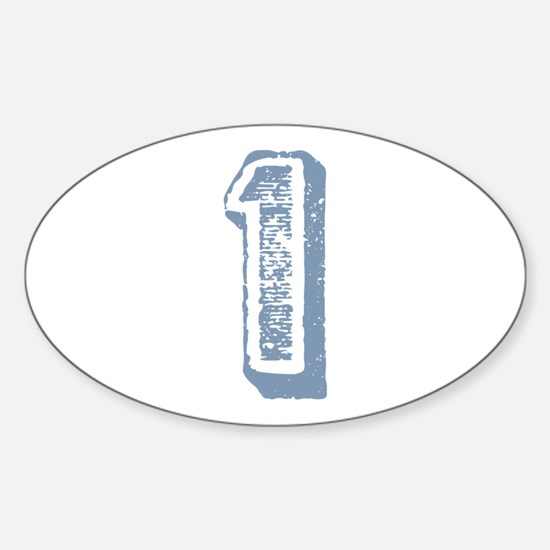 Blue Number 1 Birthday Oval Decal