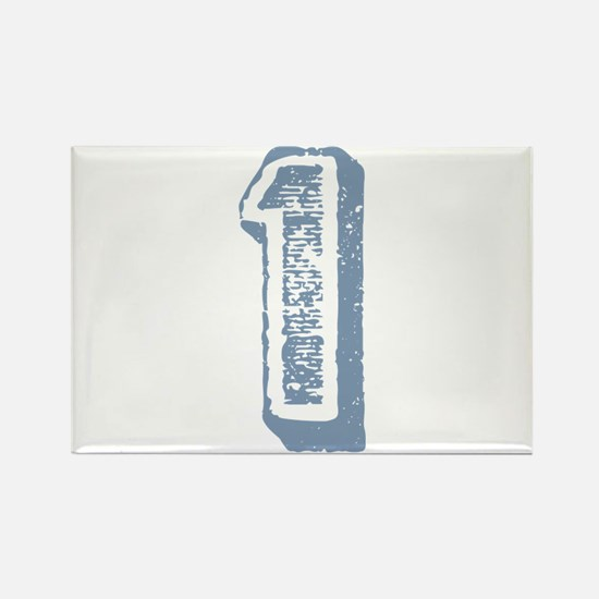 Blue Number 1 Birthday Rectangle Magnet