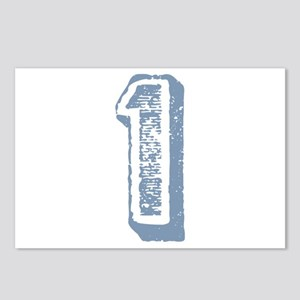 Blue Number 1 Birthday Postcards (Package of 8)