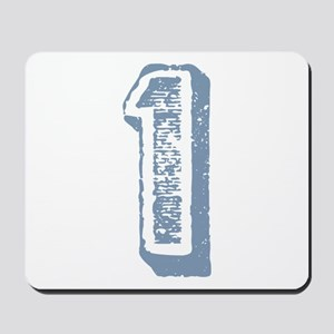 Blue Number 1 Birthday Mousepad