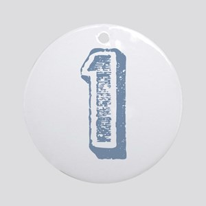 Blue Number 1 Birthday Ornament (Round)