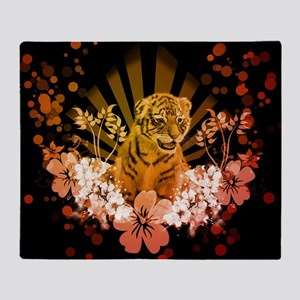 Cute little tiger with flowers Throw Blanket
