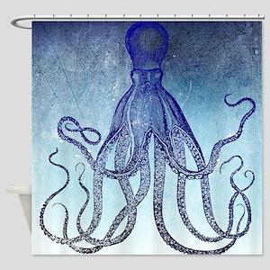 Dark Blue Vintage Octopus Shower Curtain